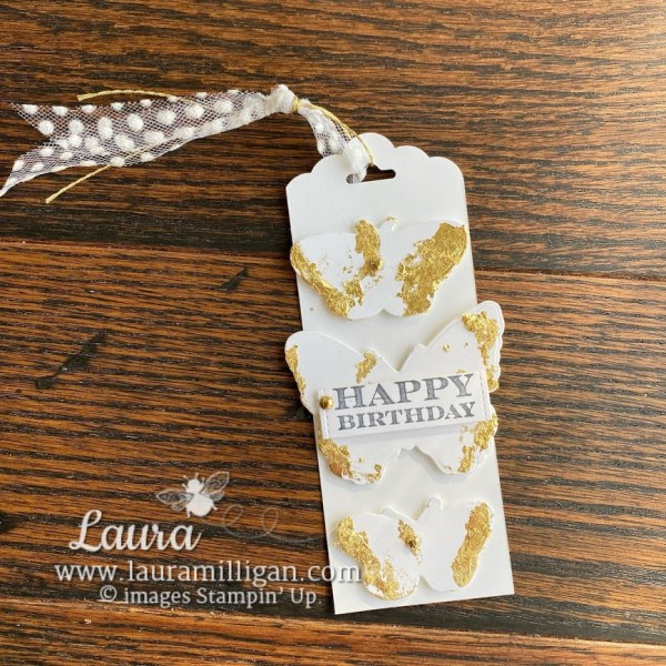 create this handmade card with butterfly brilliance bundle and gilded leafing by Laura Milligan Stampin Up! demonstrator