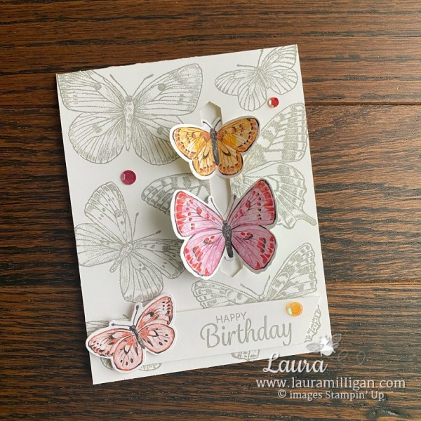 Create this Butterfly Brilliance Card Butterly Bijou Paper Laura Milligan Stampin' Up!