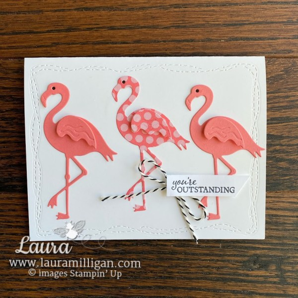 Make this hand stamped card with Friendly Flamingo Bundle and Stitched Whimsy Dies Laura Milligan Demonstrator Stampin' Up!
