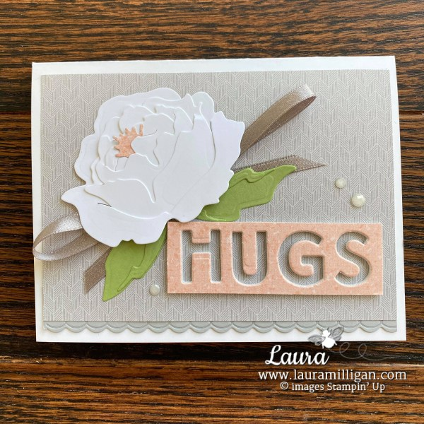 Peony Garden Suite Collection from Stampin' Up! Card by Laura Milligan, Million Dollar Sales Achiever, Free Bees