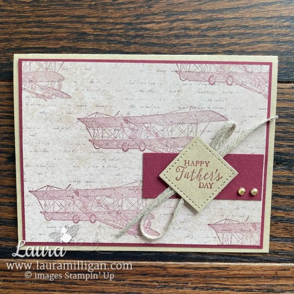 create this vintage masculine card with soar confidently stamp set Laura Milligan Demonstrator Stampin' Up!