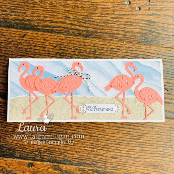 slimline Friendly Flamingo Card by Laura Milligan