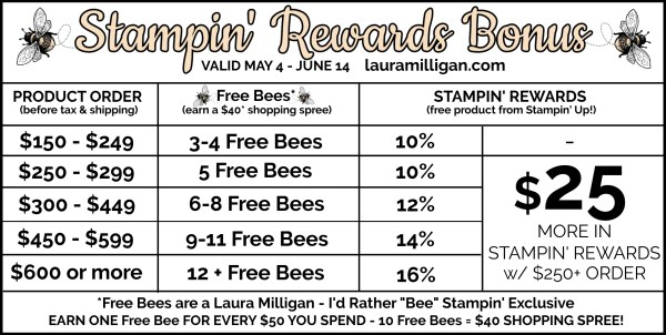 Stampin' Rewards BONUS & Free Bees Laura Milligan