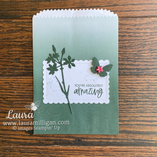 evening evergreen ombre gift bag by Stampin' Up! Butterfly Papercrafting Laura Milligan demonstrator