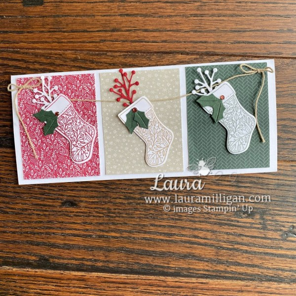 tidings and trimmings bundle slimline card by Laura Milligan Christmas Card Stampin' Up!
