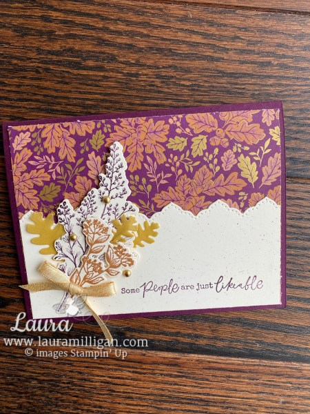Blackberry Beauty Suite by Stampin' Up! Card by Laura Millgian Facebook Live Tutorial People are Likeable