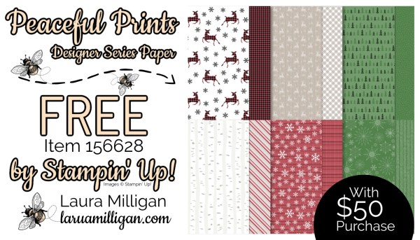 Peaceful Prints DSP From Stampin' Up! 156628 Cards by Laura Milligan Id Rather Bee Stampin