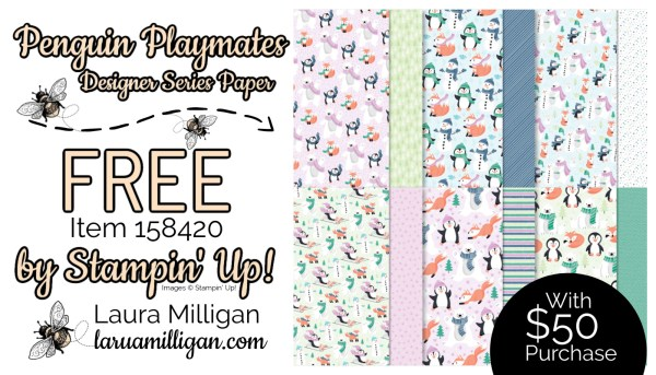 Penguin Playmates DSP From Stampin' Up! 158420 Cards by Laura Milligan Id Rather Bee Stampin