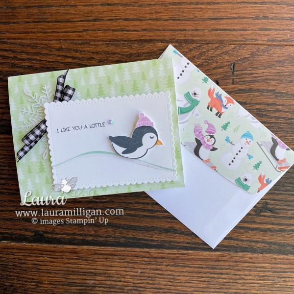 Penguin Place Card Stampin Up! Laura Milligan earn free bees