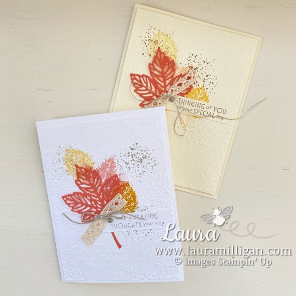create a card Vanilla of White Gorgeous Leaves Laura Milligan Earn Free Product