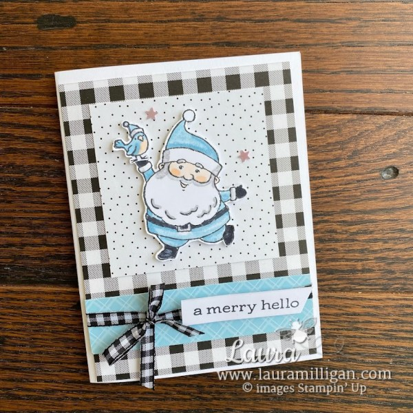 Be Jolly Card Balmy Blue Santa by Laura Milligan Stampin' Up! demonstrator Earn Free Product