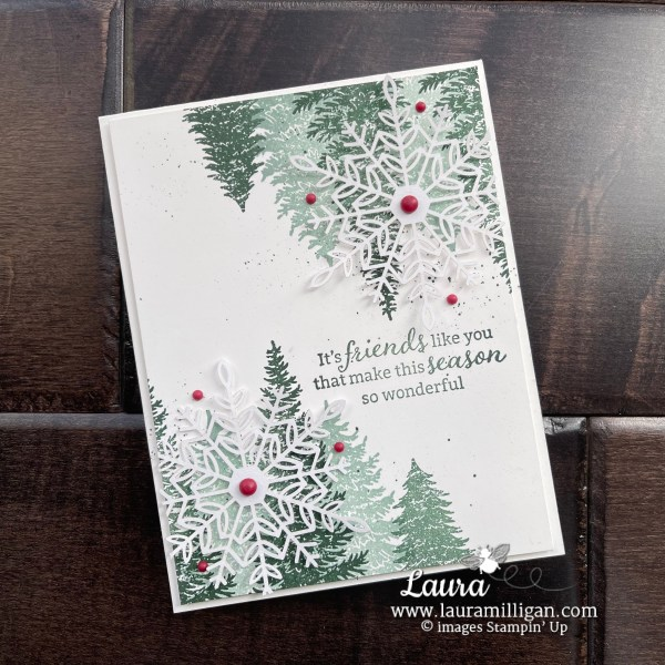 Create this holiday card using the Evergreen Elegance Stamp Set from Stampin' Up! Card by Laura Milligan Id Rather Bee Stampin'