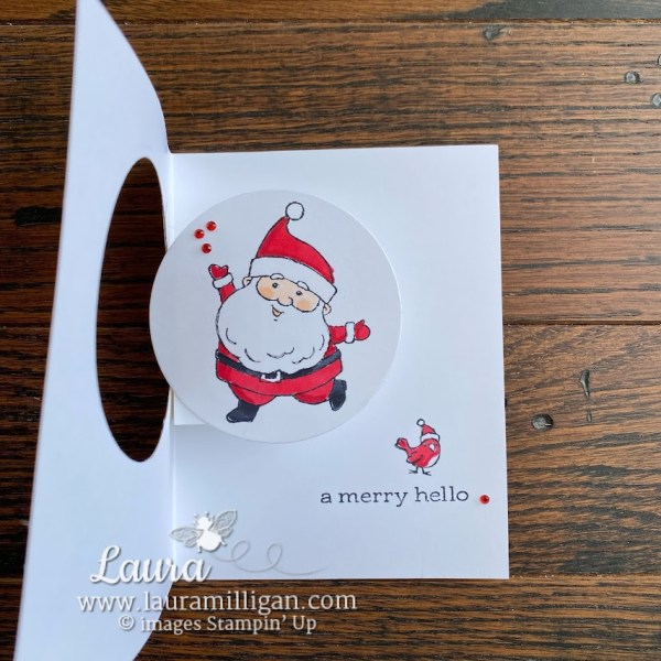 create this Be Jolly fun pop up card by Laura Milligan, Stampin' Up! Demonstrator Earn Free Product