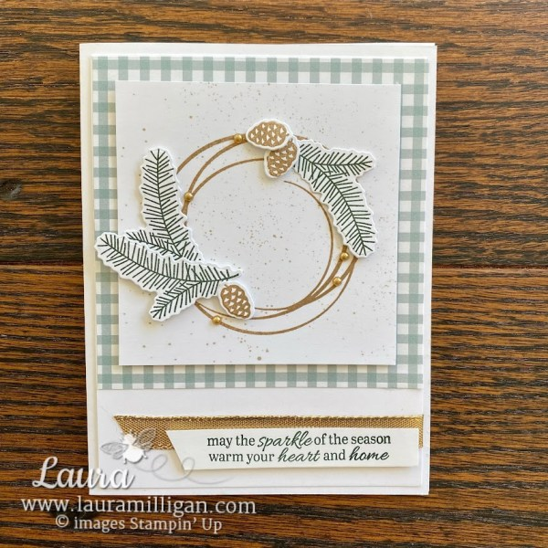 create this beautiful Christmas Wreath with the Sparkle of the Season Bundle by Stampin' Up! Demonstrator Laura Milligan