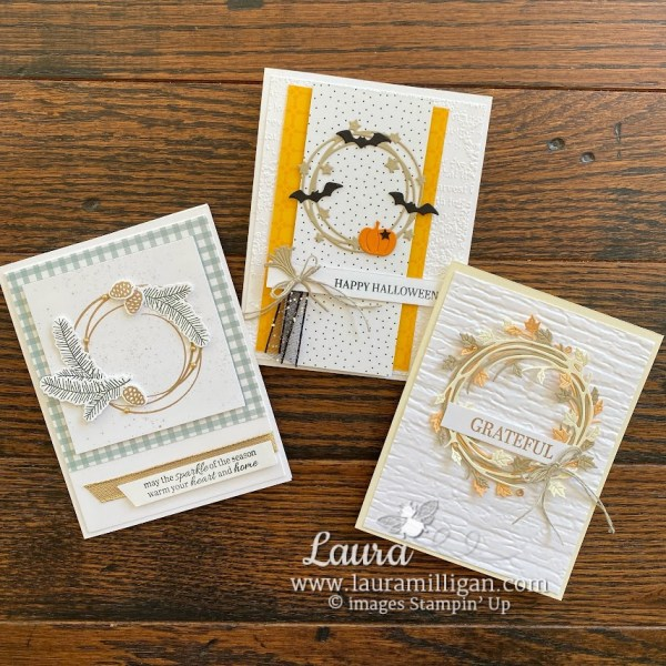 create this trio of cards with the Sparkle of the Season Bundle Laura Milligan Demonstrator Stampin' Up!
