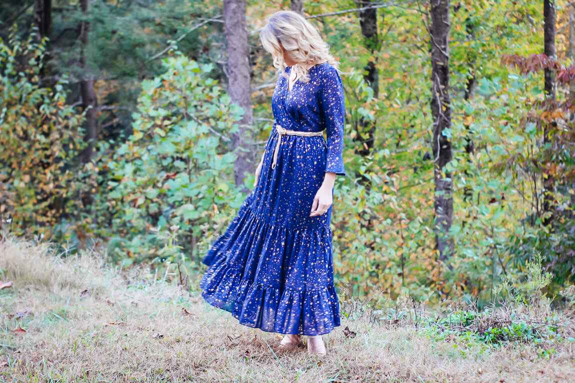 Navy Dress with Gold Star