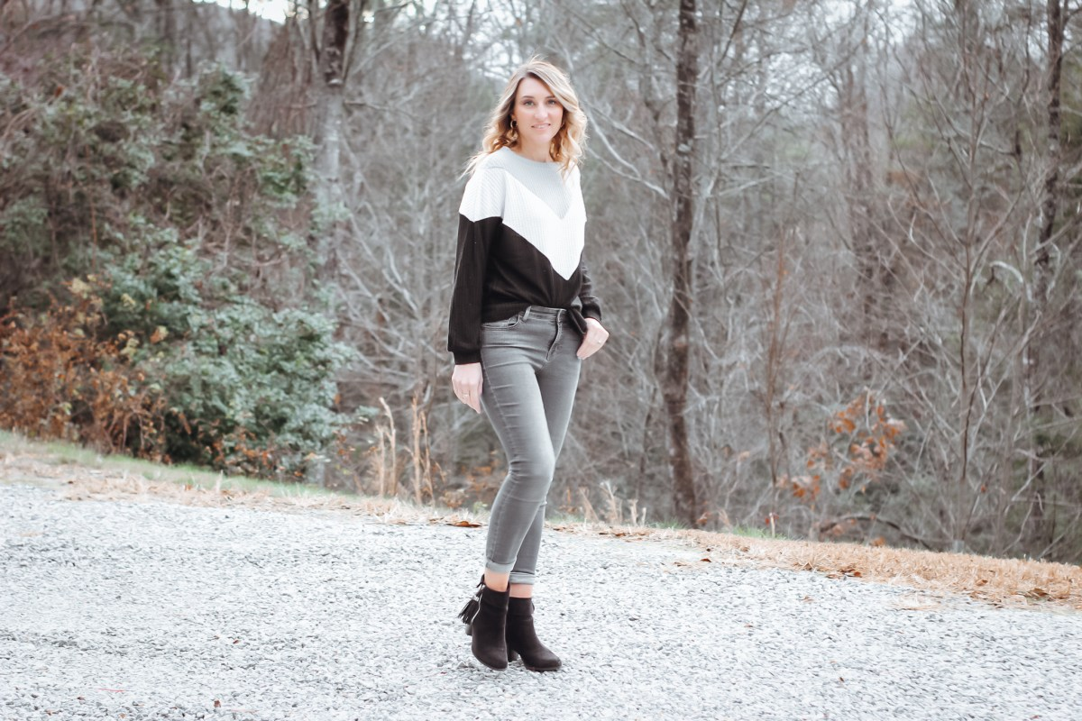 Black Color Block Long Sleeve Top Amazon Fashion
