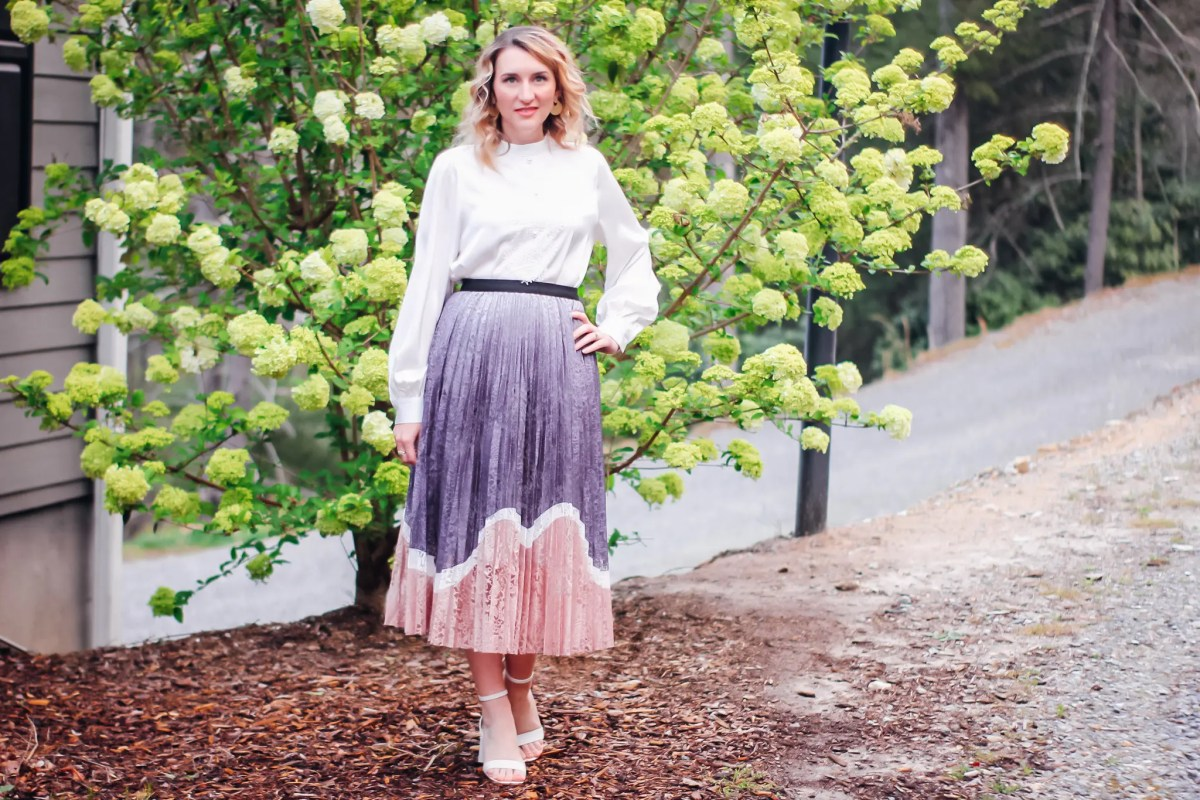 Pastel Lace Midi Skirt Styled For Spring