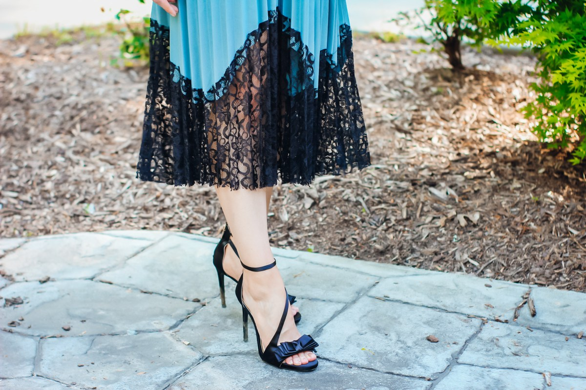 Dusty Blue and Black Lace Midi Skirts Close Up