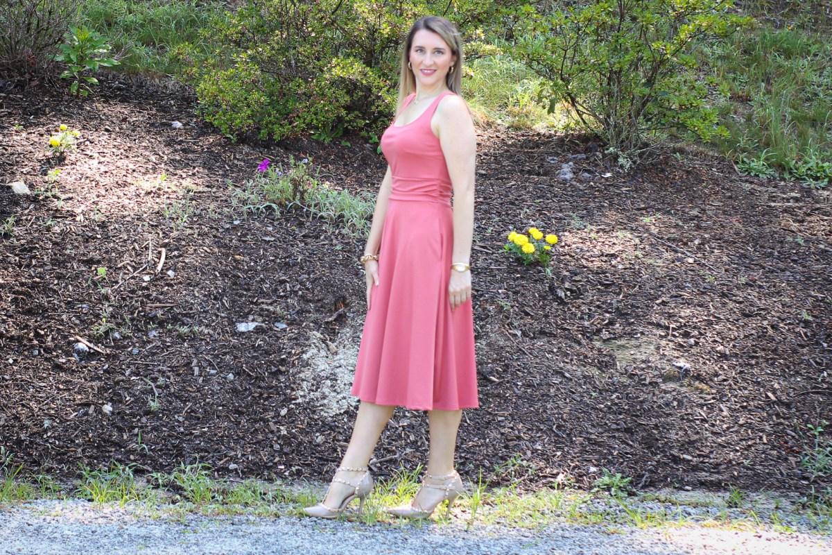 Affordable wedding guest dress tea rose