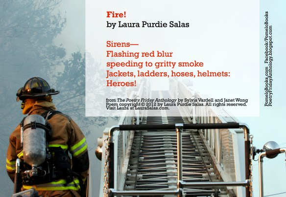 "Pomelo Books created this printable postcard of the poem ""Fire!"" from the Poetry Friday Anthology."