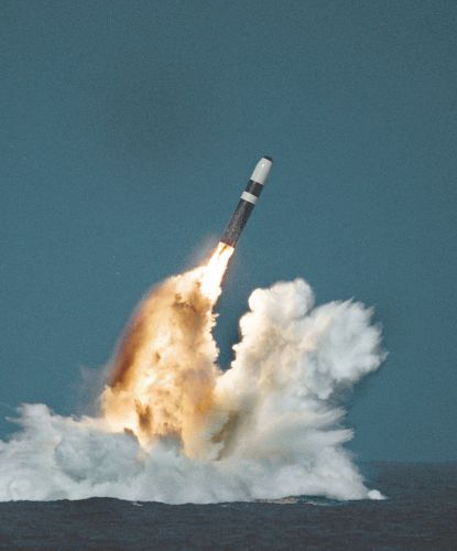 A Trident II missile launch. Public domain photo.