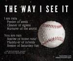 the way I see it - rain and baseball