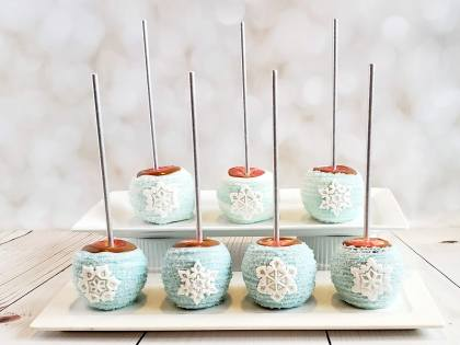 Snowflake Caramel Apples