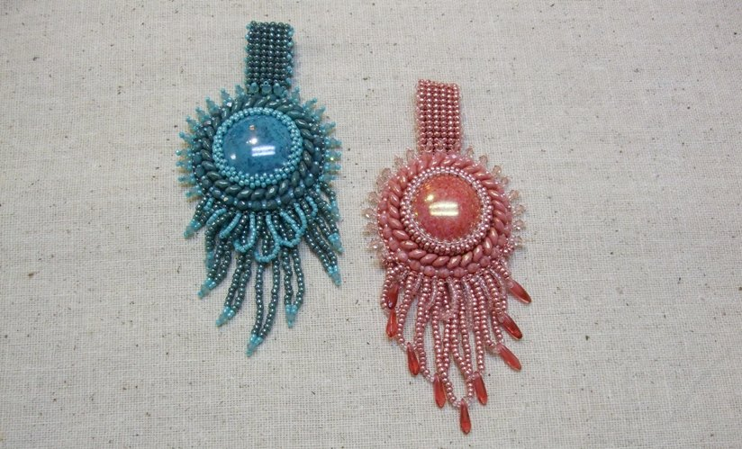 Bead Embroidery Class Beaded Cabochon Pendant