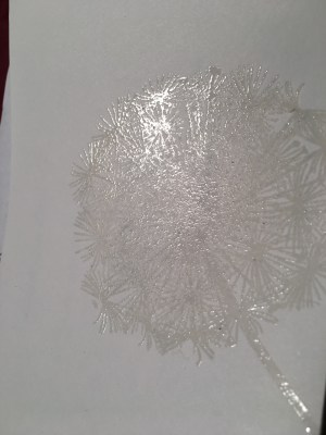 Versamark Dandelion stamp embossed clear