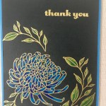 gold embossed stamped chrysanthemum thank you card colored with prismacolor pencils