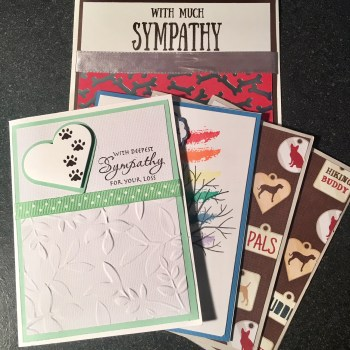 Dog sympathy card stack