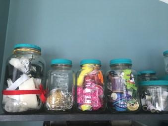 keep ribbon scraps in jars