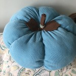 DIY pumpkin decor made from old teal tank top