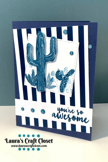 Blue cactus Card flowering desert greeting