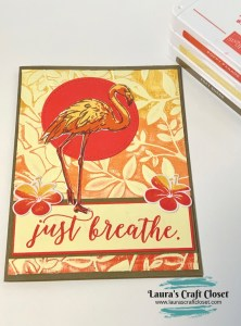 Flamingo breathe card sunset inked embossing folder background