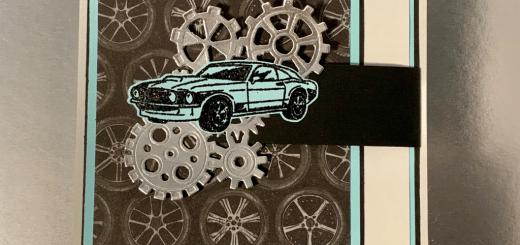 Car flap card with gears