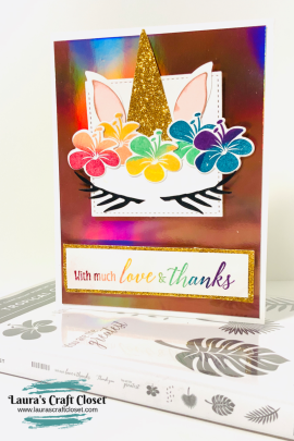 unicorn cake card tropical chic