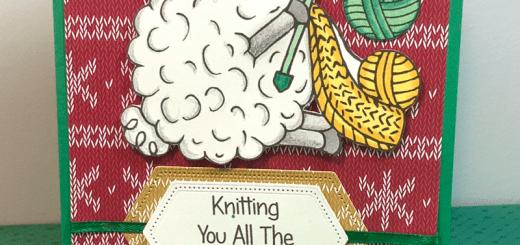 Sheep knitter sweater christmas card