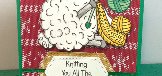 Sheep knitter sweater christmas card