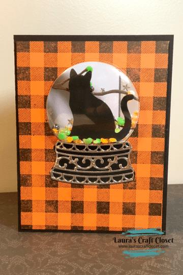 Inked window Halloween shaker card