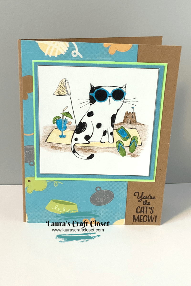 beach time cat card