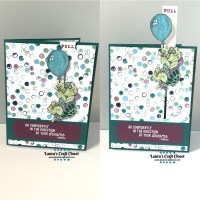 Floating Away Turtle Pull-Tab Encouragement Card
