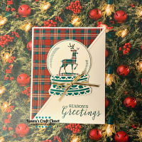 Plaid Reindeer Snow Globe Card