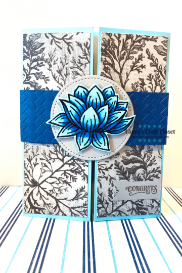 Blue Lily Gatefold Card front