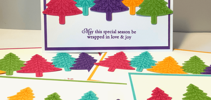 Non-traditional bright christmas cards stack pine trees