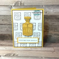 Whiskey Thank You Card with Repeated Rocks Glass Background