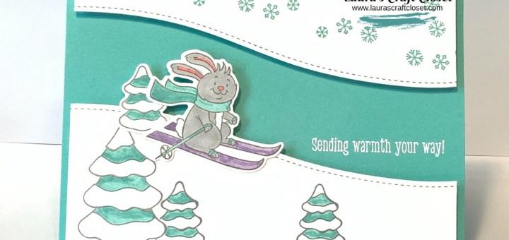 Freezin Fun Skiing Bunny Card