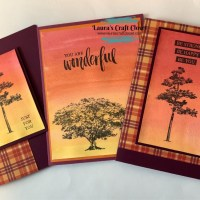 Fall Watercolor Plaid Cards with Tree Silhouette