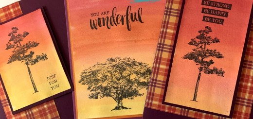 Fall Watercolor Tree Silhouette Plaid Cards